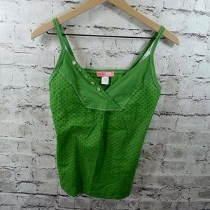 Lux Anthropologie Green Swiss Dot Tank Top XS